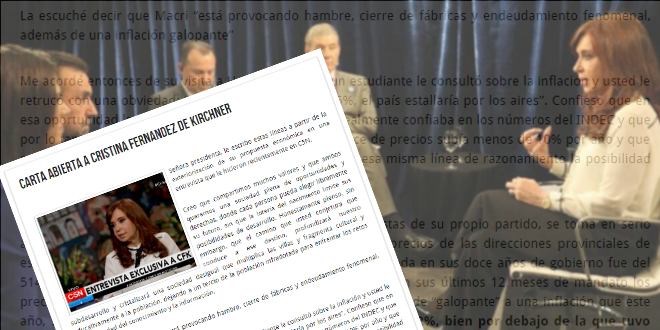 Carta abierta a Cristina Fernandez de Kirchner